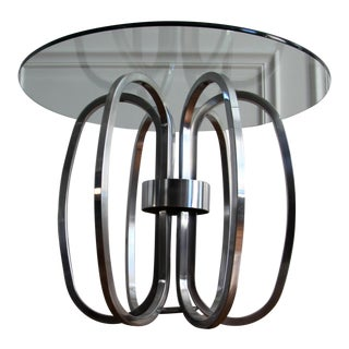 Mid Century Modern Sculptural Chrome and Glass Accent Table For Sale