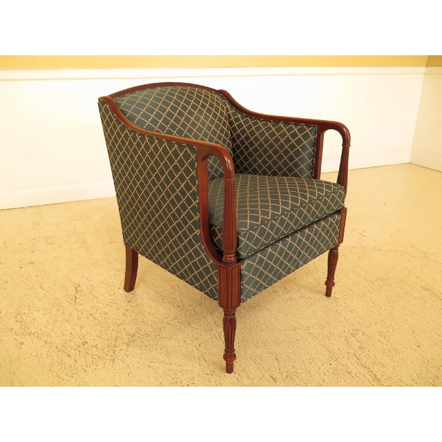 Wood Vintage Thomasville Mahogany Sheraton Upholstered Club Chair For Sale - Image 7 of 11