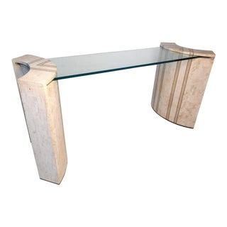 Vintage Modern Tessellated Marble and Glass Hall Table After Maitland-Smith For Sale