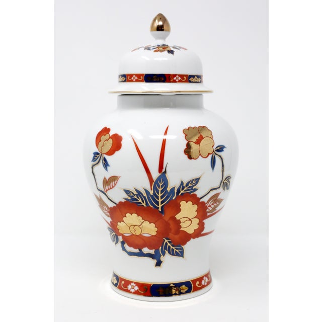 Vintage Ginger Jar With Hand-Painted Rust, Blue and Gold Flowers For Sale - Image 11 of 11