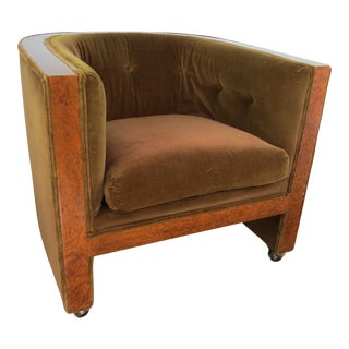 1930's Vintage French Art Deco Burlwood and Velvet U-Shape Club Chair For Sale