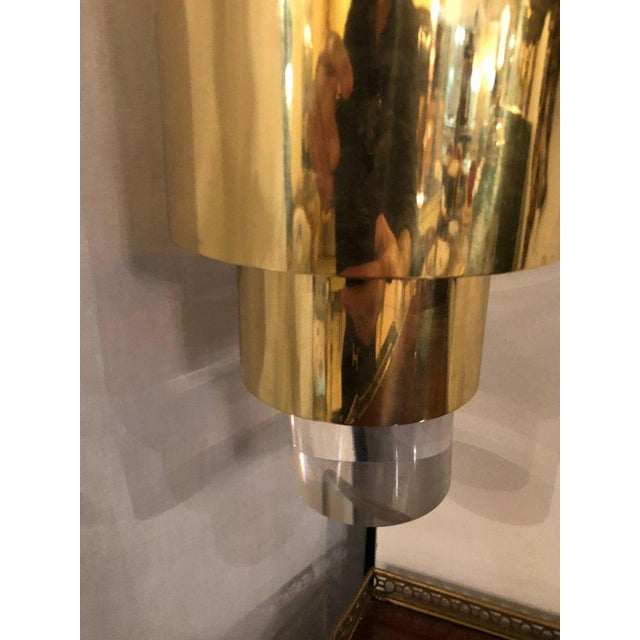 Gold Pair of Mid-Century Modern Karl Springer Brass and Lucite Wall Sconces For Sale - Image 8 of 12