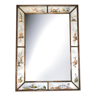 Antique Chinoiserie Hand Crafted Reverse Painted Mirror With Bamboo Frame For Sale