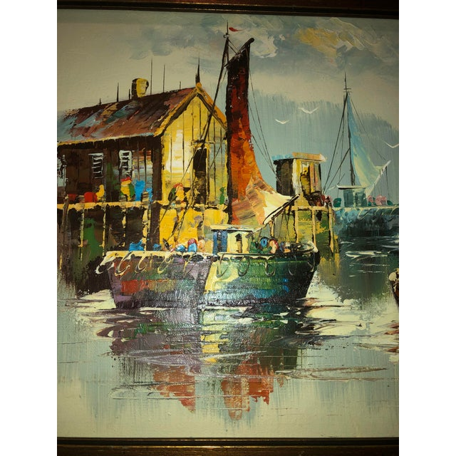 Peaceful Mid Century Painting of Sailboats For Sale - Image 4 of 9