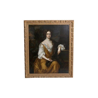 18th Century English Portrait of Mrs. Overbury Circle of Sir Godfrey Kneller For Sale