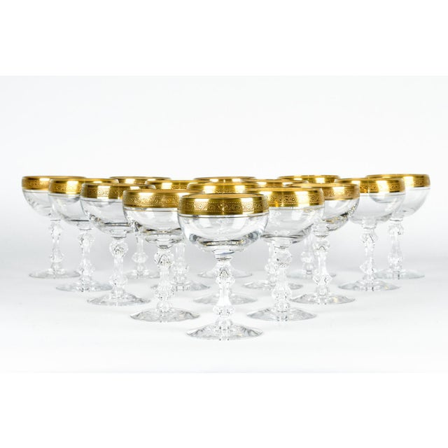 Vintage set of fifteen champagne coupe / martini glassware. Each glass is in excellent condition. Each glass measure 4.5...