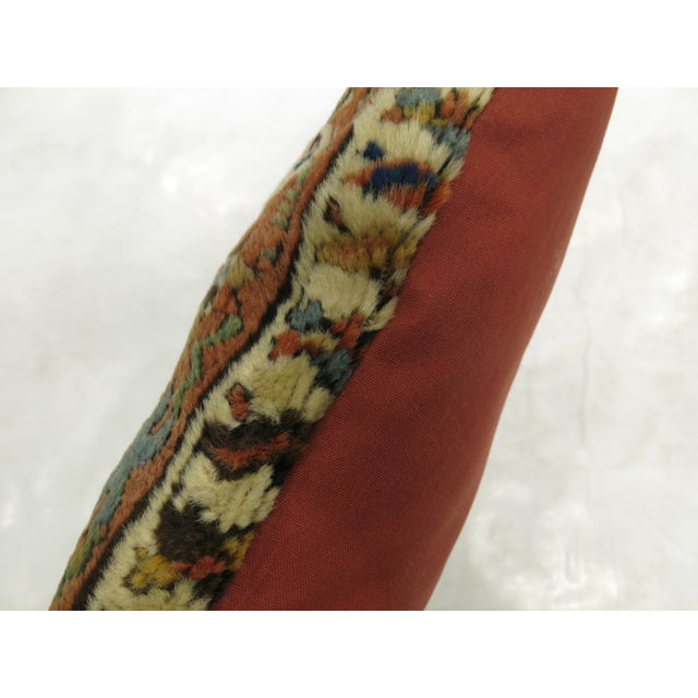 English Traditional Antique Heriz Rug Pillow For Sale - Image 3 of 4
