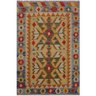Contemporary Kilim Angelia Beige/Blue Hand-Woven Wool Rug - 2'7 X 3'8 For Sale