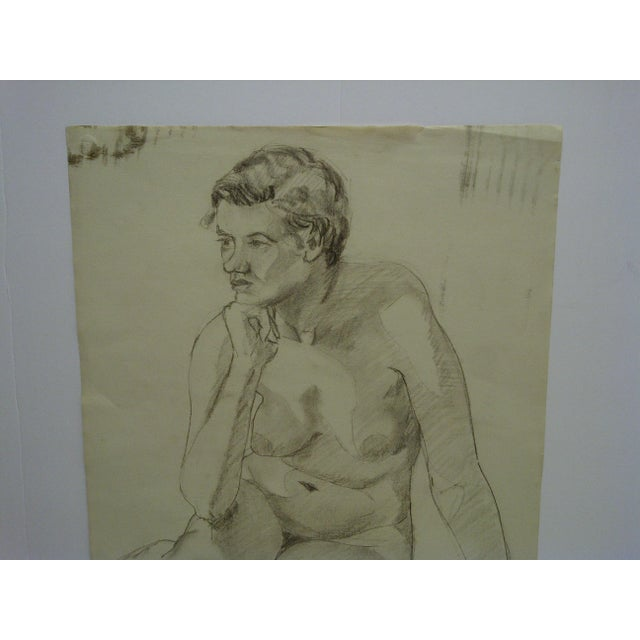 """Mid-Century Modern Mid-Century Modern Original Drawing on Paper, """"Nude in Deep Thought"""" by Tom Sturges Jr For Sale - Image 3 of 6"""