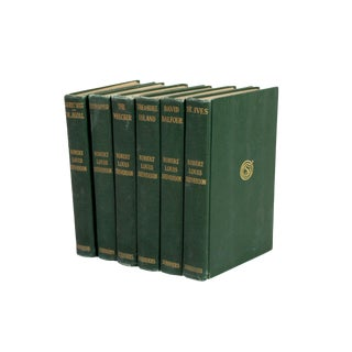 Antique 1906 Robert Louis Stevenson Forest Green Hardback Books - Set of 6 For Sale