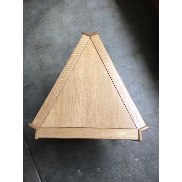 Studio Triangular Side Table in Solid Oak For Sale - Image 4 of 10
