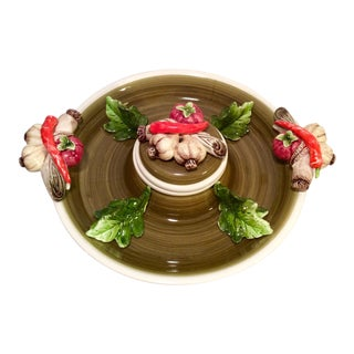 Vintage Majolica Vegetable Themed Crudités Platter