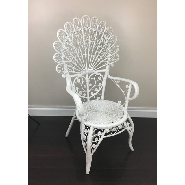 Early 20th Century Antique White Wicker Chair For Sale - Image 12 of 12