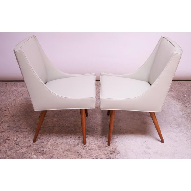 Vintage Walnut and Leather Slipper Chairs by Milo Baughman - a Pair For Sale - Image 9 of 13