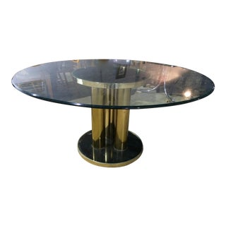 Master Craft Brass Plated Mirrored Pedestal Table For Sale