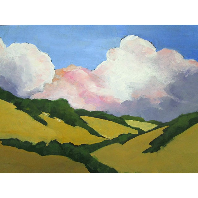 Malibu Hills Morning Clouds, plein air art impressionist California landscape oil painting, by Lynne French. The signed...