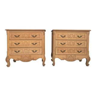 20th Century Country French Louis XVI Style Pine Nightstands or Commode For Sale