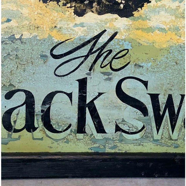 """Green Vintage English Pub Sign, """"The Black Swan"""" For Sale - Image 8 of 13"""