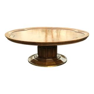1950s Hollywood Regency John Widdicomb Fruitwood Pedestal Coffee Table For Sale