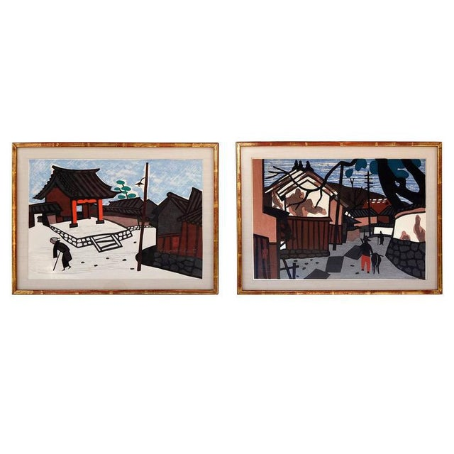This charming pair of wood block prints by Kiyoshi Saito (1907-1992) presents very well and is beautifully framed. Signed...