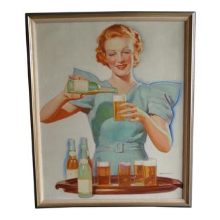 """1933 """"Dream Girl Serving Beers"""" Figurative Oil Painting by Charles Hart Baumann, Framed For Sale"""