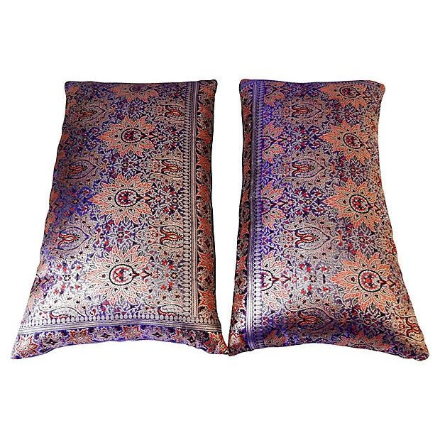 Lumbar Thai Silk Pillows, S/2 - Image 4 of 5