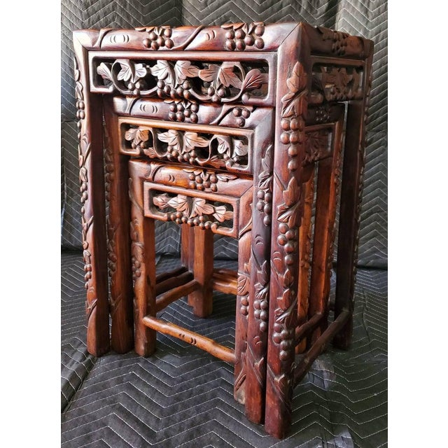 Wood Antique Chinese Carved Nesting Tables - Set of 3 For Sale - Image 7 of 11