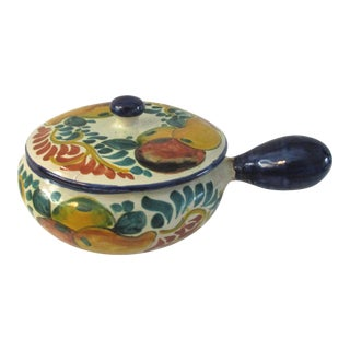 Mexican Talavera Pottery Lidded Crock For Sale