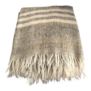 Irish Handmade Cream and Beige Striped Fringe Wool Throw For Sale