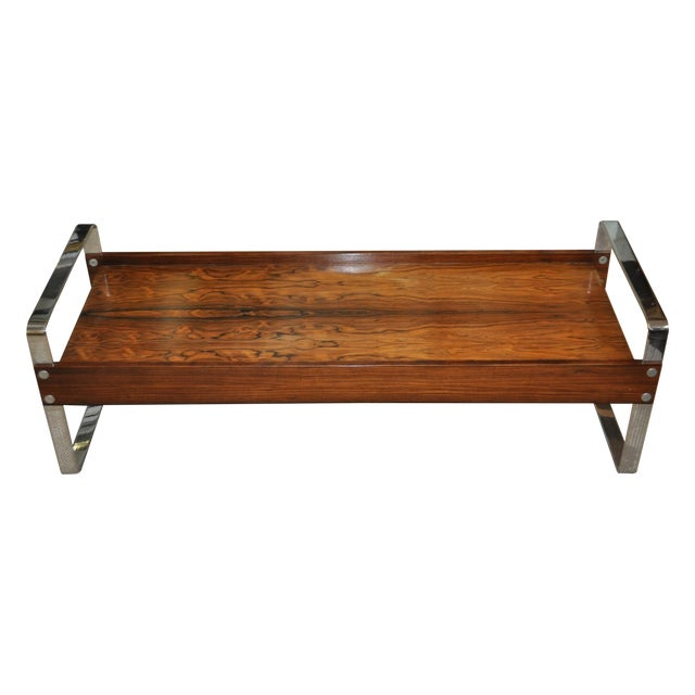 Vintage 1970's Rosewood & Chrome Coffee Table - Image 1 of 4