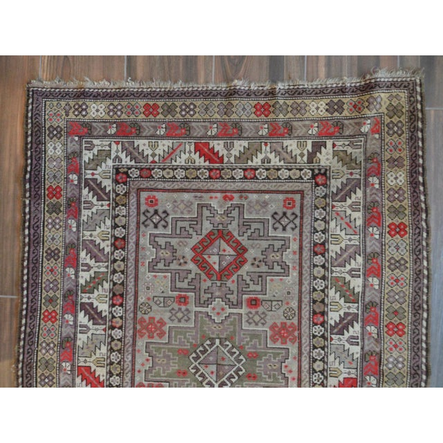 Distressed Vintage Star Kazak Rug - 3′9″ × 5′ - Image 4 of 9