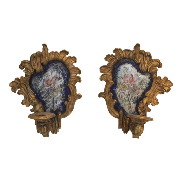 19th Century Baroque-Style Blue and Silver Sconces - a Pair For Sale