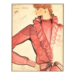 1980s French Fashion Drawing With Notations For Sale