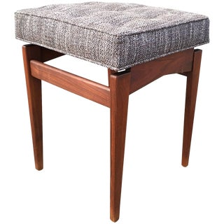 Jens Risom Walnut Upholstered Stool For Sale
