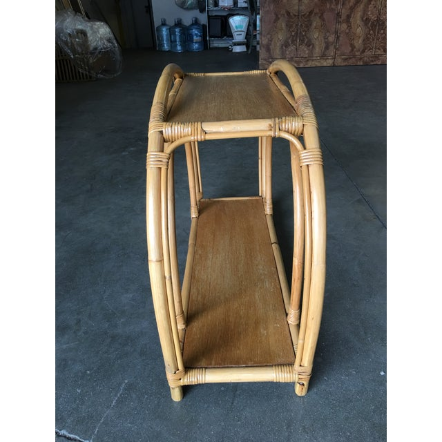 """1950s Restored Rattan """"Double Arch"""" Side Table With Two-Tier Mahogany Tops, Pair For Sale - Image 5 of 7"""
