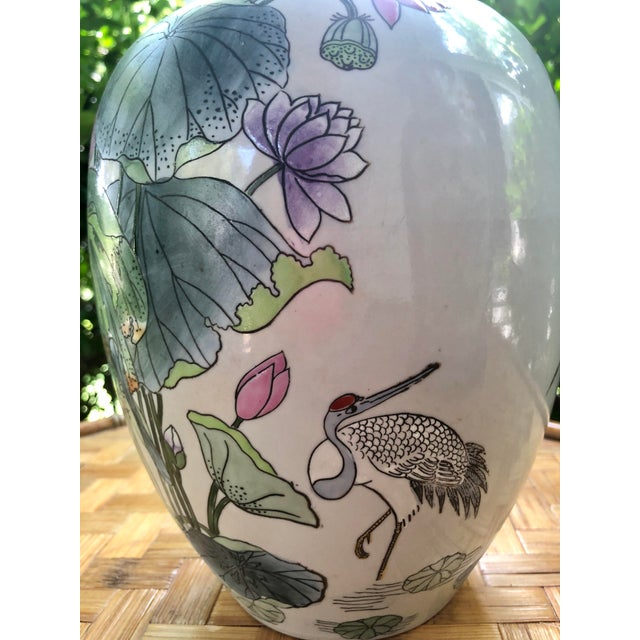 Ginger Jar With Water Lillies & Cranes For Sale - Image 9 of 13