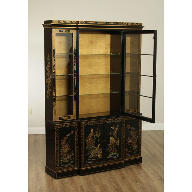 Black Drexel Heritage Et Cetera Black & Gold Asian Chinoiserie Breakfront For Sale - Image 8 of 13