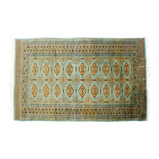 Mid-Century Modern Silk & Wool Rectangular Turquoise Area Rug - 4′2″ × 6′5″ For Sale