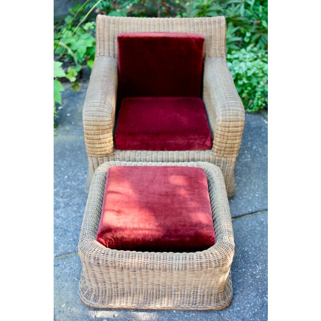 1970s Vintage Sculptural Wicker Armchairs & Ottomans- 4 Pieces For Sale In San Francisco - Image 6 of 12