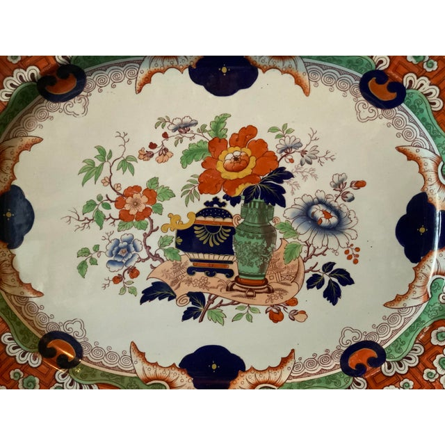 1900 - 1909 Antique Ironstone China Hand Painted Platter For Sale - Image 5 of 9