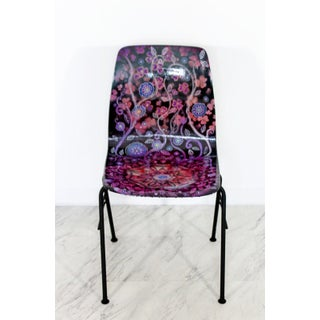 Contemporary Modern Boho Chic Hand Painted Psychadelic Floral Shell Side Chair Preview
