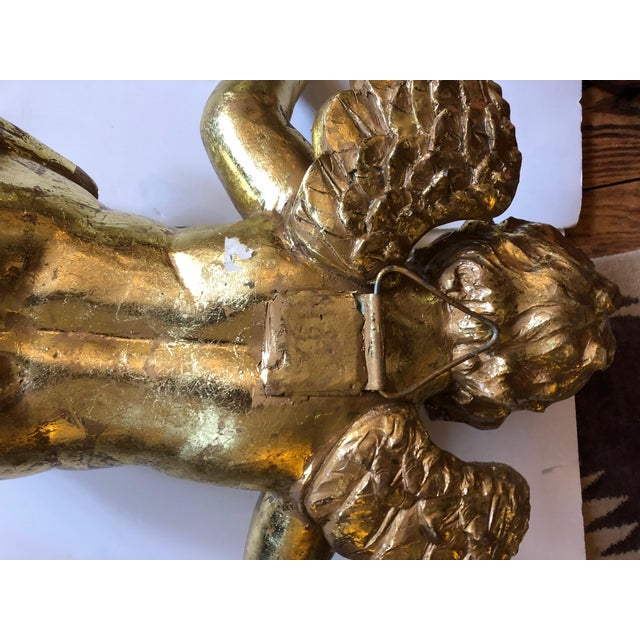 Rococo Decorative Gilded Cherub Sculptures - a Pair For Sale - Image 10 of 11