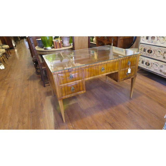 Midcentury Tiger Wood Desk For Sale In New York - Image 6 of 13