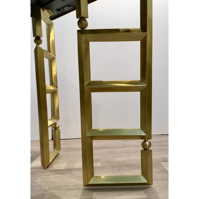 Global Views Modern White and Brass Beveled Leg Side Tables Pair For Sale In Atlanta - Image 6 of 7