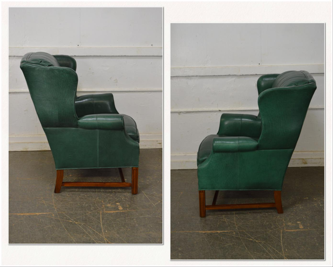 Whittemore Sherrill Chippendale Style Green Leather Wing Chair W/ Ottoman    Image 3 Of 13