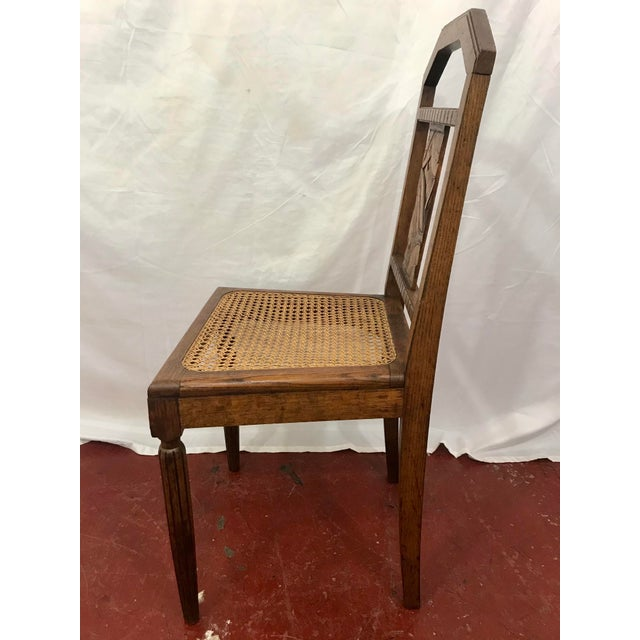 Wood French Oak and Cane Art Deco Dining Chairs For Sale - Image 7 of 9