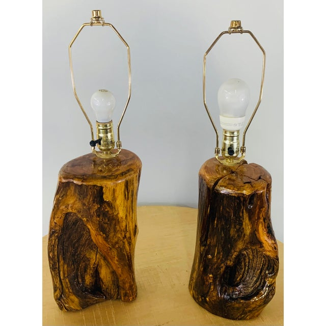 An exquisite handmade pair of organic modern design table lamps. Hand carved of high quality maple wood logs, the table...