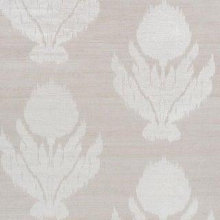 Sample - Schumacher Agra Shimmer Wallpaper in Moonstone For Sale