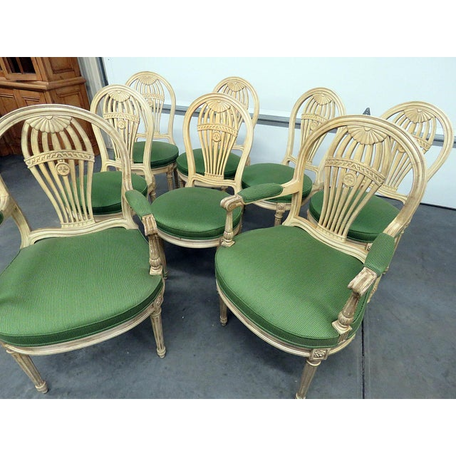 """Set of 8 Maison Jansen style distressed paint decorated dining chairs. 6 side chairs measure 36""""h x 17""""w x 20""""d. The 2 arm..."""