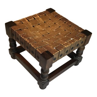 Woven Leather Top Wood Stool For Sale